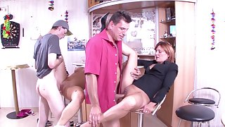 Horny guys swap bitches in crazy foursome
