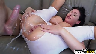 Hot ass mature Angel White gives a titjob before having anal sex