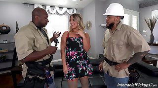 Horny workers handle this home alone wife in proper XXX threesome