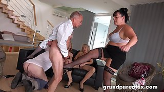 Young and old amateurs come together for a group fuck fest