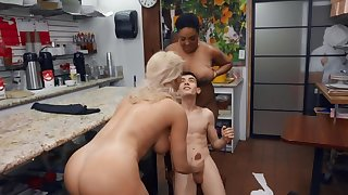 Boy can't run away till he satisfies black and white pornstars