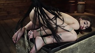 Dirty brunette loves being tied up and flogged hard