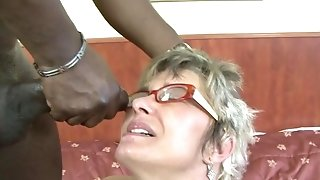 Wrinkle grandmother In Glasses Gets buggered Off out of one's mind hefty dark-hued stud sexvideo
