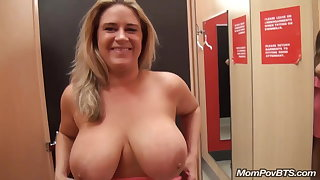 big naturals MILF flashing coupled with fucking