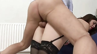 Molten ebony-haired cougar in ebony pantyhose does packed with swell up off sextube