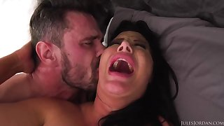 Ebony haired mommy with fat boobies is boinking a fortunate stud, instead of her spouse