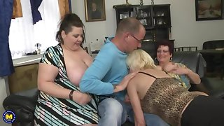 Busty adult MOMs attack lucky boy
