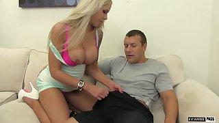 Nina Elle giving long dick stunning handjob indoors