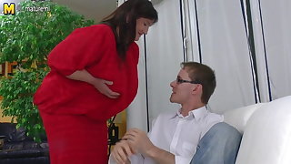 Fat old granny fucked hard unconnected with young boy