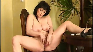 Curvy old housewife with tapestry big tits and extended butt