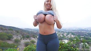Bombshell blonde MILF Alura masturbates solo with toys