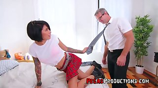 Step daddy can't resist fucking whorish step daughter in college uniform Jacki J