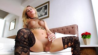 Blonde tranny with a GIANT cock