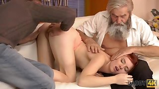Old man and his young son share beautiful juicy pussy