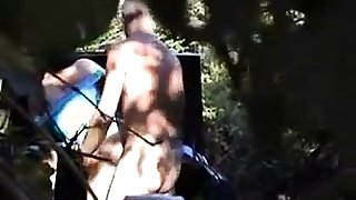 Hubby watches girl fuck a stranger in the woods