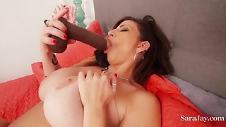 MILF Sara Jay - busty mom masturbating solo with 2 toys