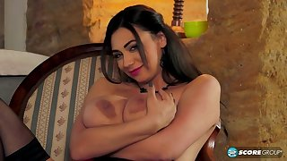 Sexy mom with giant boobs in hot solo action
