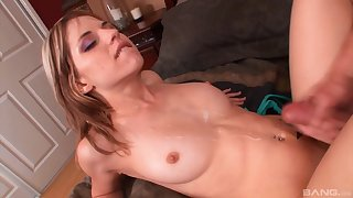 Amateur babe creams her big tits with nice sperm