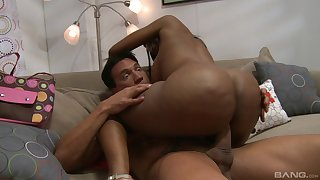 Sexy ebony takes white hammer in both holes then swallows