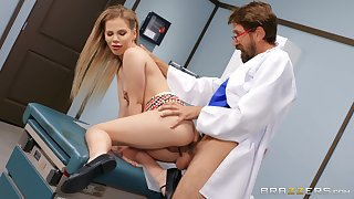 Sweet blonde gets laid with her hot physician