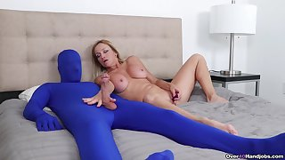 Dominant mature plays with her male slave in extra kinky fetish